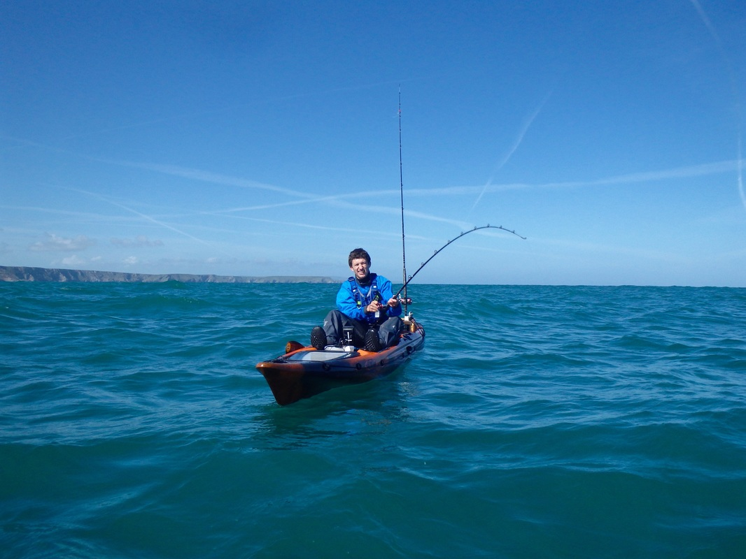 Kayak Fishing for Tope in Cornwall