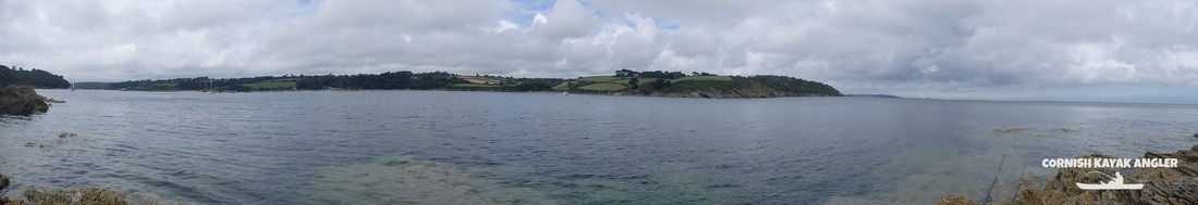 Kayak Fishing at the River Helford - The mouth of the River Helford looking North to Toll Point