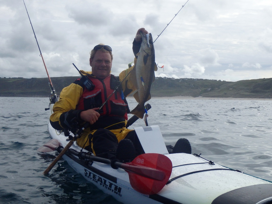 Craig with a Pollack at the Penzance Kayak Fishing Meet 2015