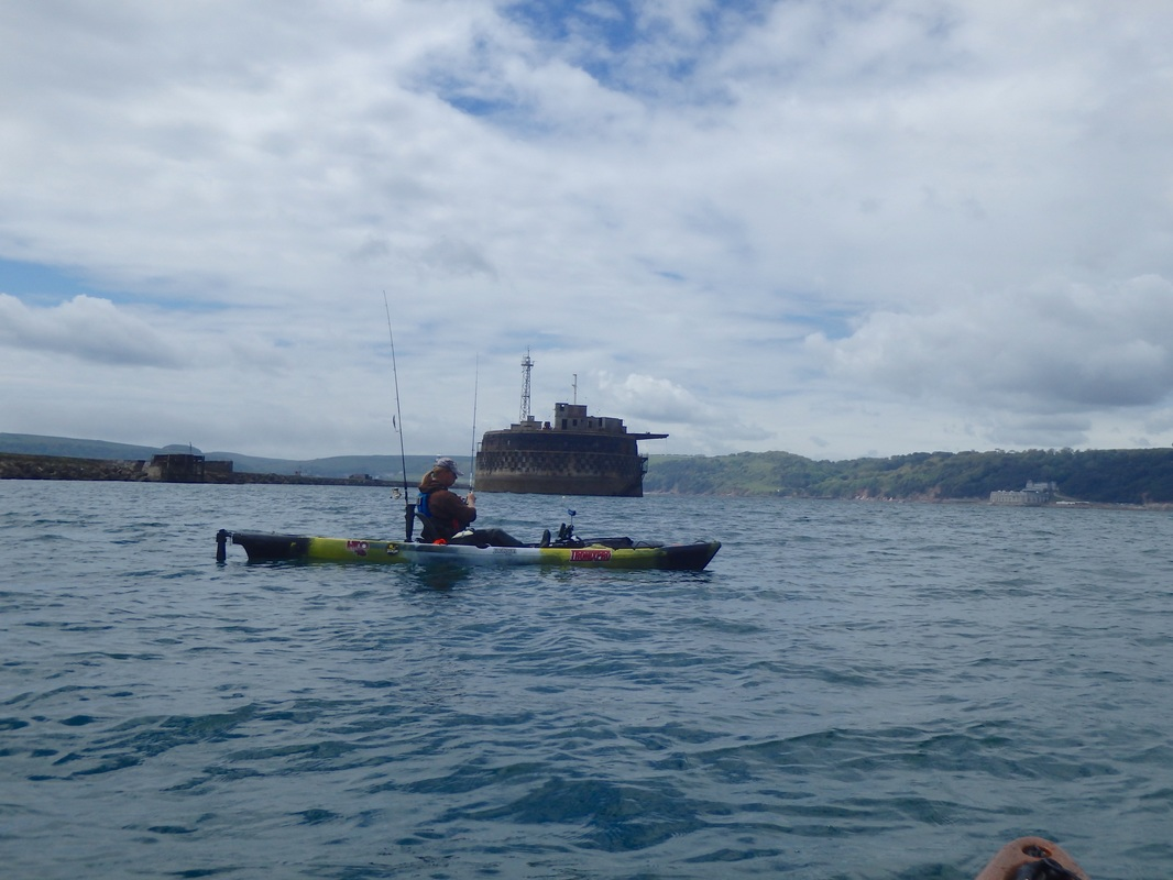 Mark Radcliffe kayak fishing at Plymouth Breakwater