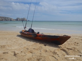 Kayak Fishing at Porthcurno - Luanching on a calm summers day