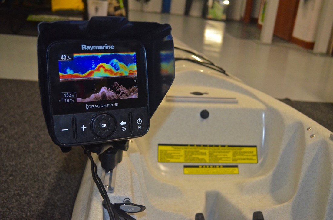 Raymarine Dragonfly 5 Pro Fish Finder installation on a Hobie Kayaks