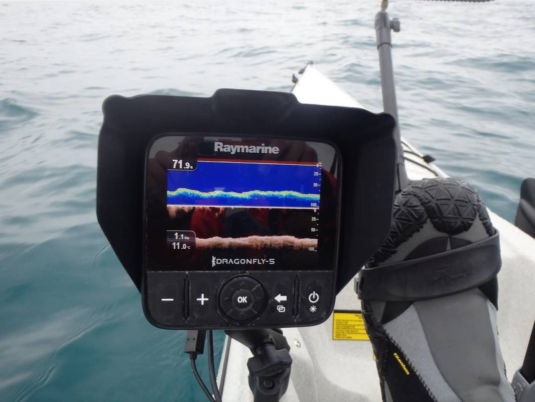 CHIRP Sonar and DownVision modes working on the Raymarine Dragonfly 5 Pro Hobie Install