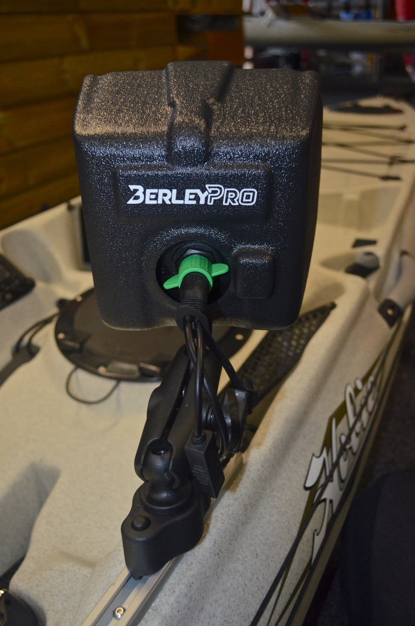 Raymarine Dragonfly 5 Pro with Berley Pro Visor mounted on YakAttack Gear Trac