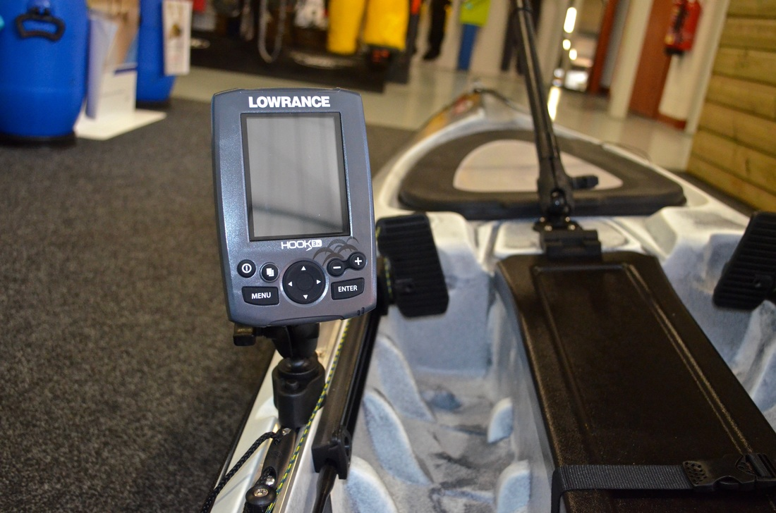 Lowrance Hook 3x mounted on the RTM Rytmo Angler Slide Tracks using a Ram Quick Release Track Base