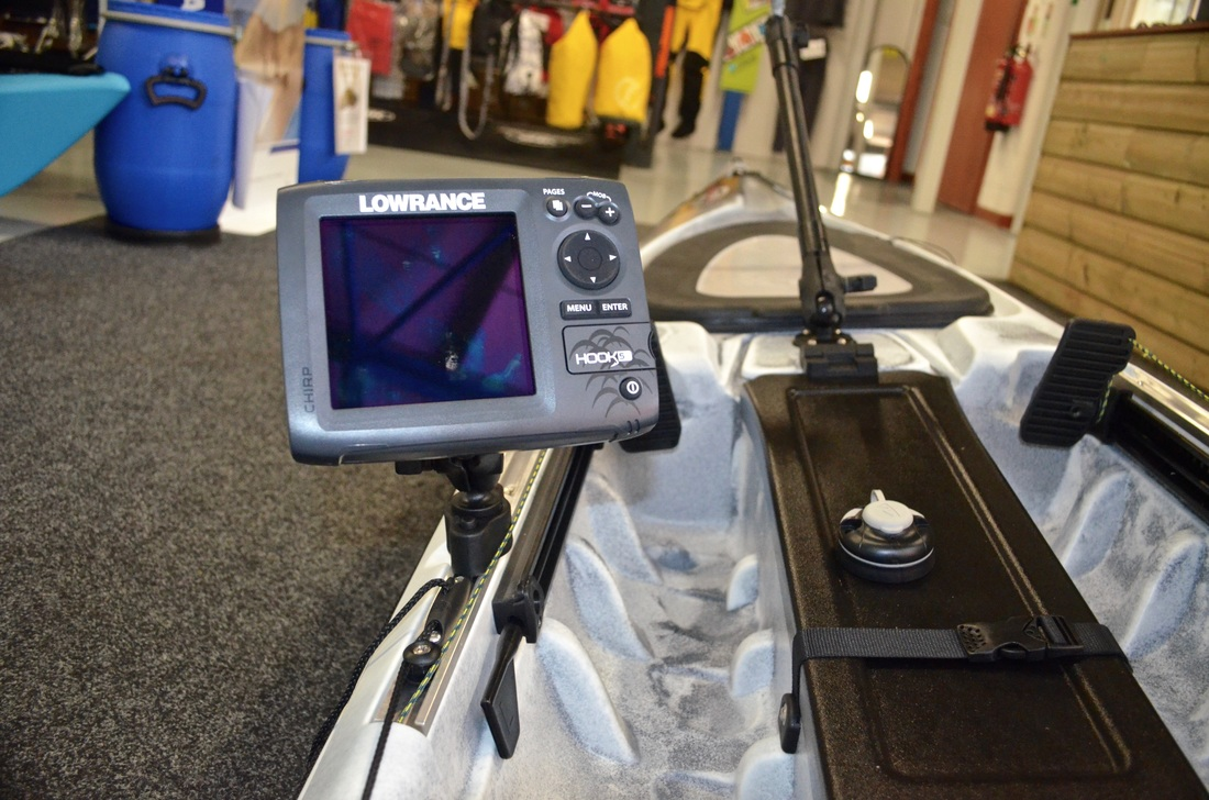 Lowrance Hook 5 mounted on the RTM Rytmo Angler Slide Tracks using a Ram Quick Release Track Base