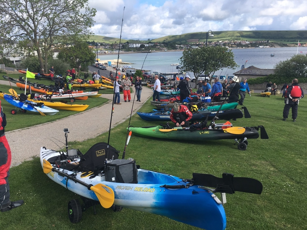 Anglers getting ready at the Swanage Classic 2017 Kayak Fishing Competition