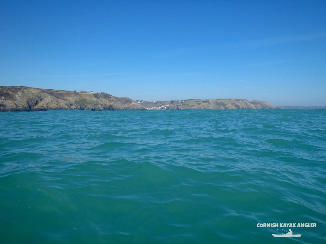 Kayak Fishing at Cadgwith - looking back at Cadgwith from Bass Point
