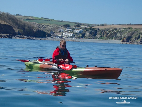 Kayak Fishing at Porthallow - Fishing for mackerel with Porthallow beach in the background