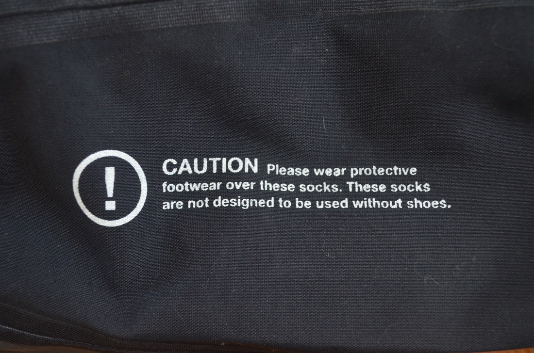 Palm Dry Pant Sock Warning - Wear Protective Footwear!