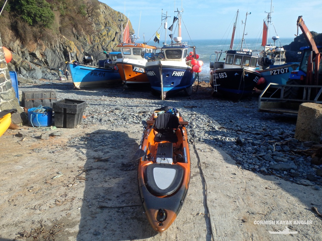 Kayak Fishing at Cadgwith - Fishing boats on the cove beach