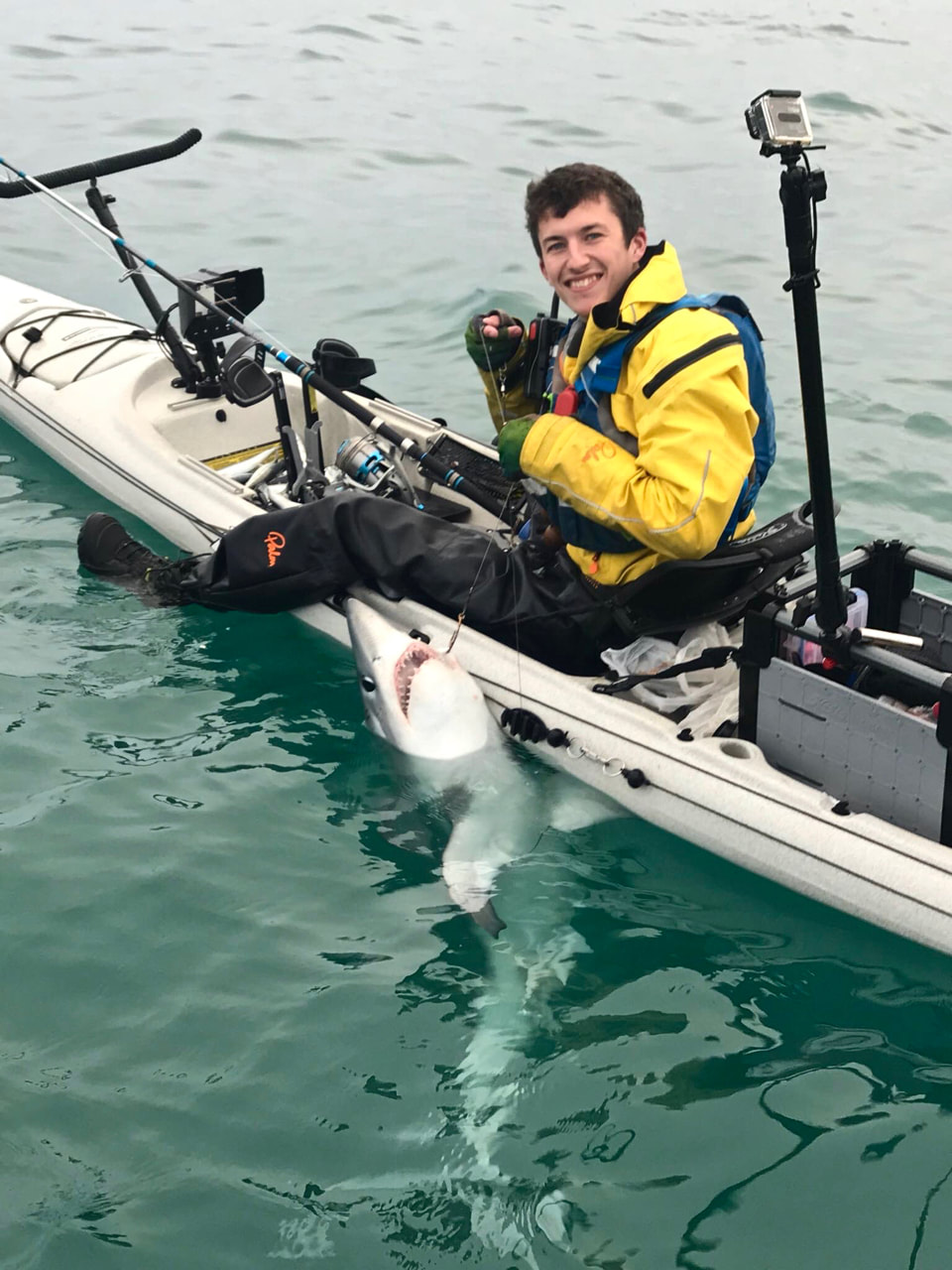 Cornish Kayak Angler catches a Porbeagle Shark from his Kayak