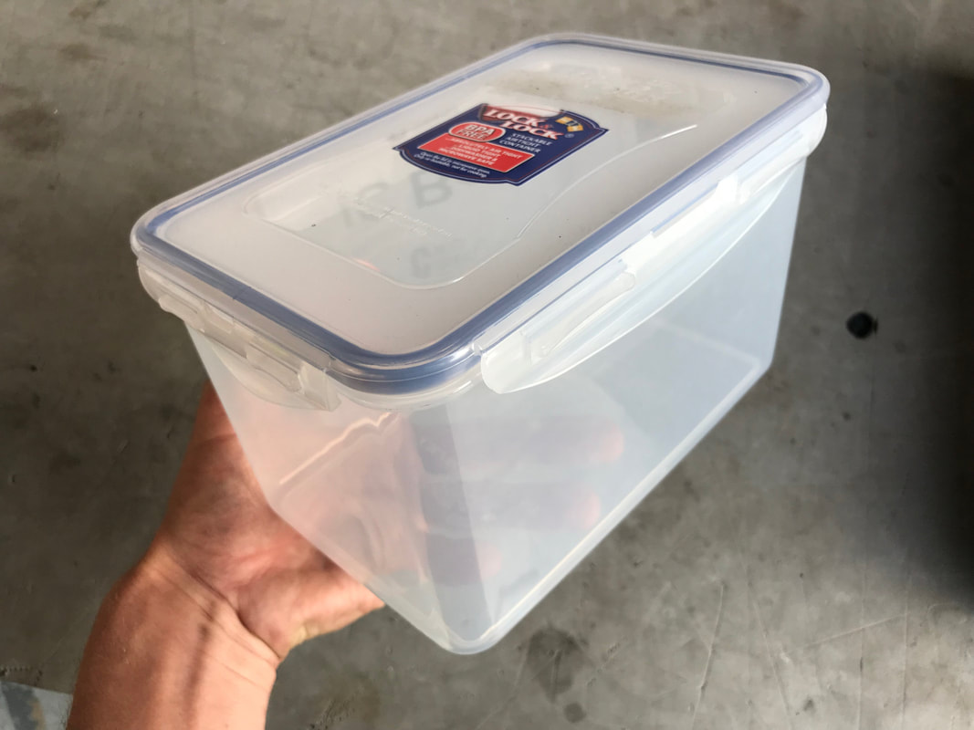 Lock and Lock 1.9L container for Kayak Battery Box